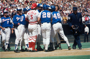 Hank Aaron being congratulated on home run 714. (Getty Images)