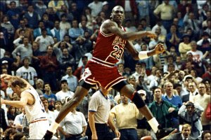 "Michael Jordan seconds after making ""The Shot"" (Getty Images)"