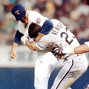 Nolan Ryan fighting at age 46.  (Getty Images)