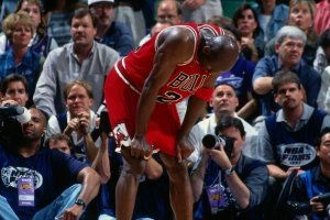 "Michael Jordan during ""The Flu Game""  (Gety Images"""