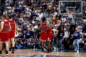 "Scottie Pippen holding a weak Michael Jordan in the final seconds of ""The Flu Game""  (Getty Images)"