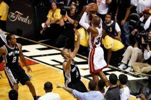 Ray Allen shooting a crucial three-pointer in Game 6 of the 2013 NBA Finals. (Getty Images)