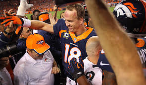 Peyton Manning celebrates his record breaking game.  (Getty Images)