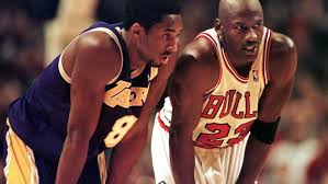 Kobe Bryant and Michael Jordan during the 1997-1998 basketball season. (Getty Images)